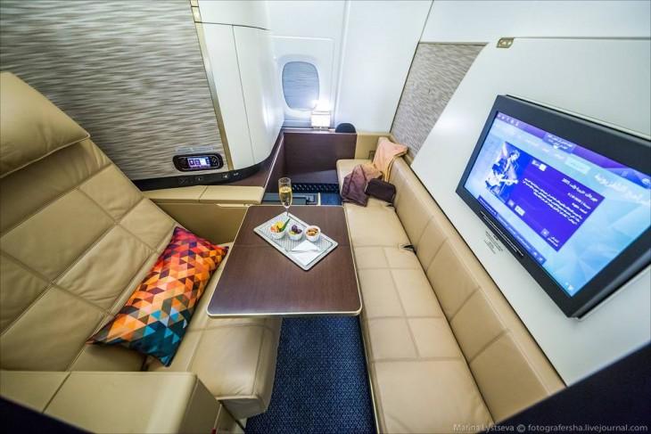 área para un pasajero de primera clase en el avión A380 en Dubai