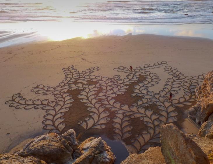 Pinturas creadas en la arena por parte de Andrés Amador, San Francisco
