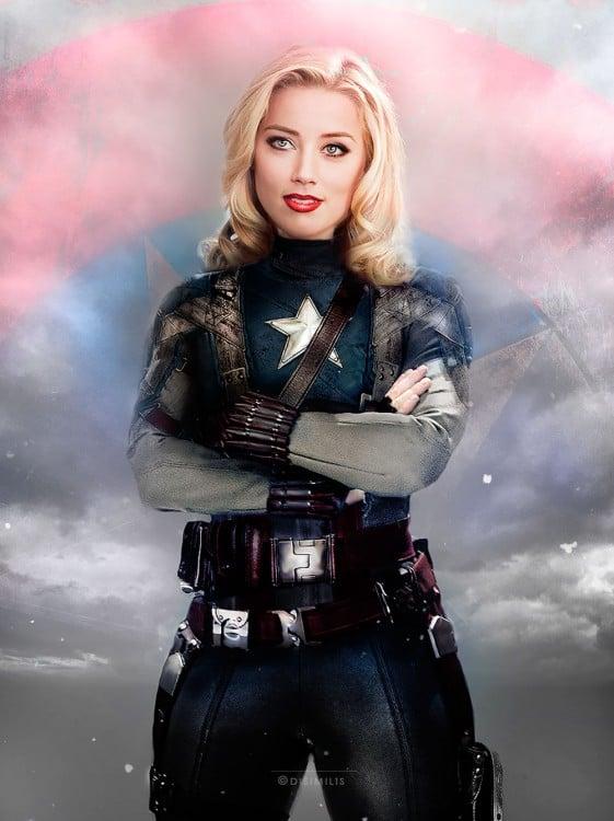 Amber Heard como el Capitán América