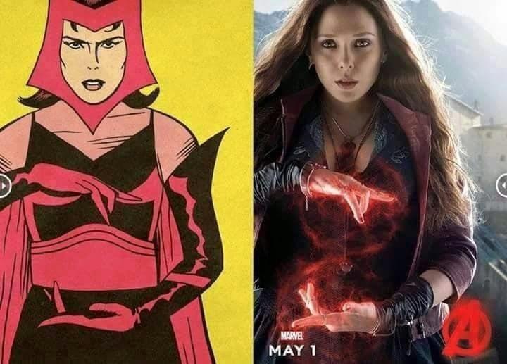 Comparación del antes y después del personaje de Scarleth Witch