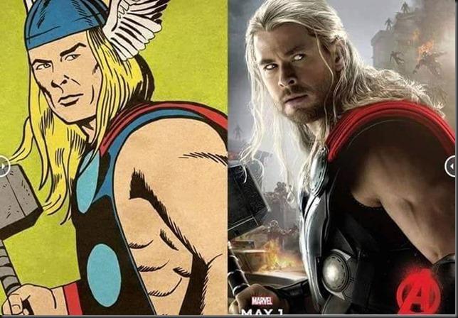 comparación del personaje de Thor en sus primeras apariciones y el poster de la nueva película de los Avengers