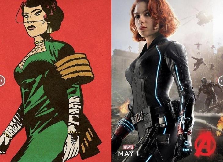 comparativa de las primeras apariciones de la viuda negra en los cómics con la nueva viuda negra de Los Avengers Age Of Utron