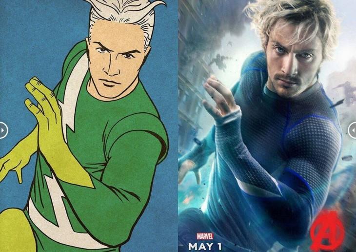 Quicksilver comparación con sus primeras apariciones en los cómics y su poster con la nueva película