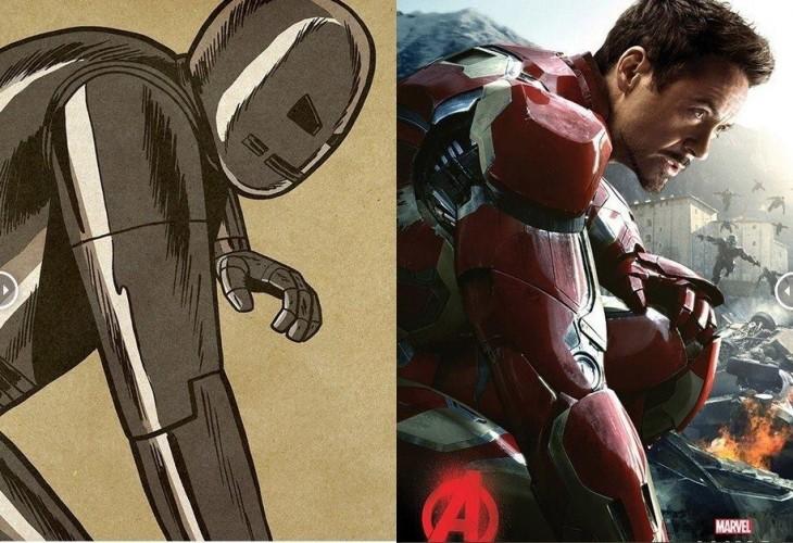 comparación de Iron Man en sus primeras apariciones con el Iron Man actual