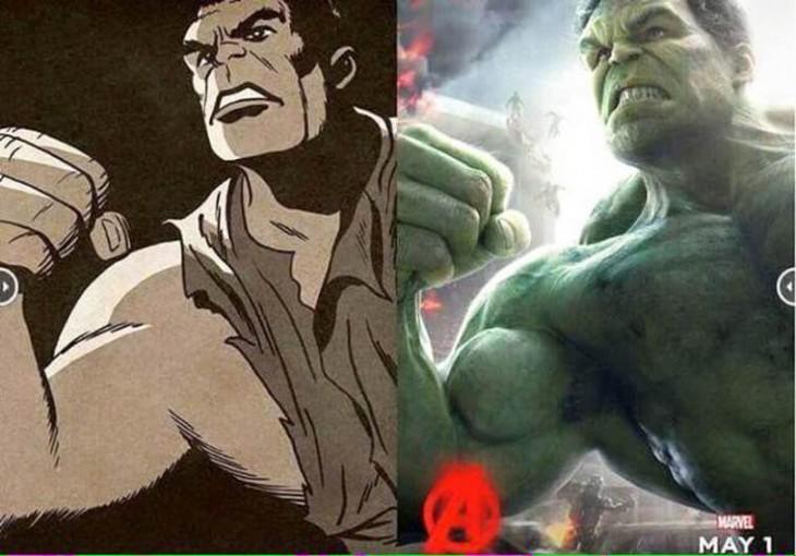 Antes y después del personaje de Hulk