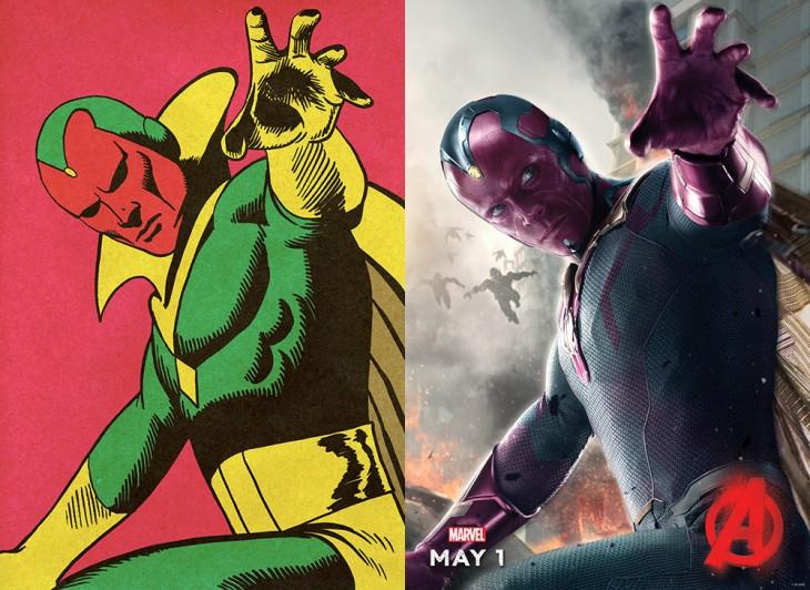 Antes y después del personaje visión en la película de Los avengers