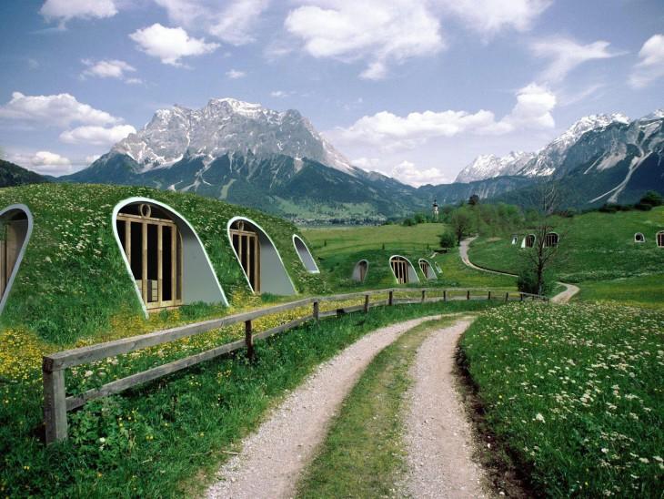 Casas prefabricadas al estilo 'hobbit'