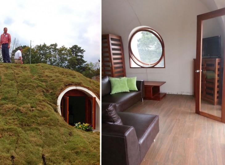 estructura por dentro y por fuera de las casas prefabricadas al estilo 'hobbit'