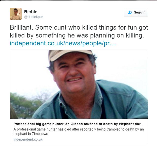 Cazador Ian Gibson muere aplastado por un elefante bebé