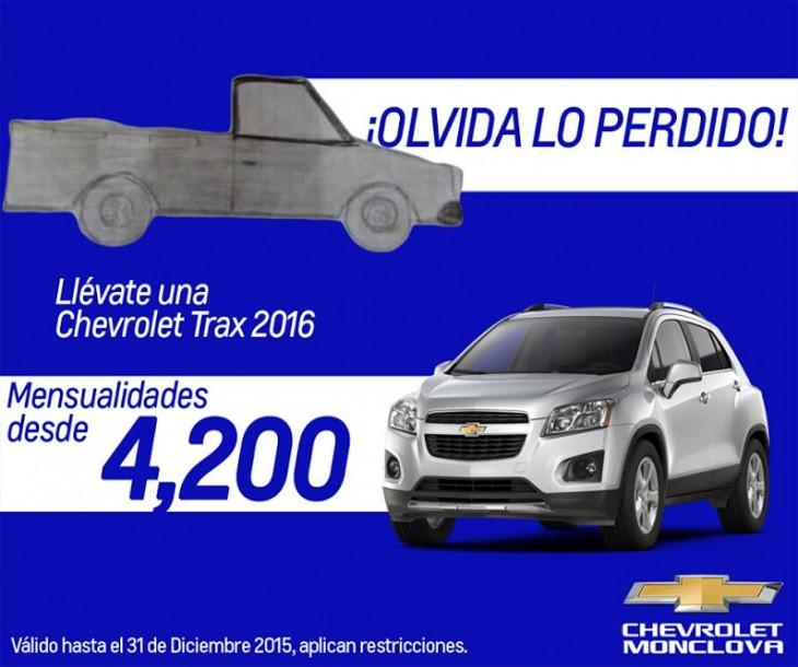 Publicidad de Chevrolet con el dibujo de la pick up de Zaira Salazar