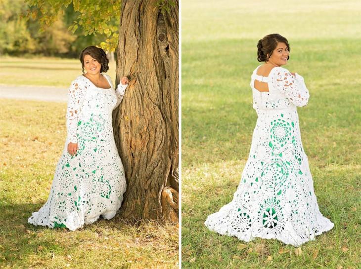 Fotografías donde Abbey Ramírez Bodley luce su vestido tejido con ganchillo