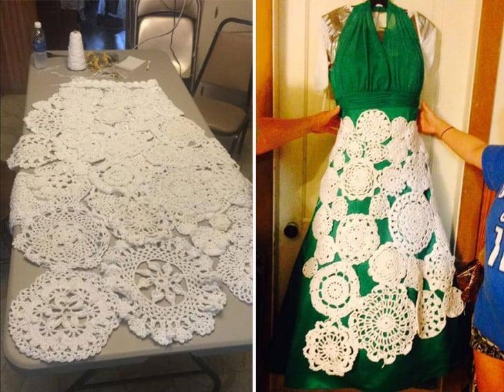 proceso del vestido tejido por Abbey Ramírez Bodley durante 8 meses