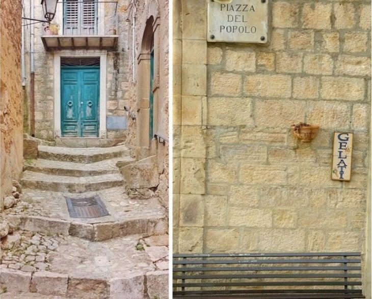 casa y una de las calles en la ciudad de Gangi en sicilia