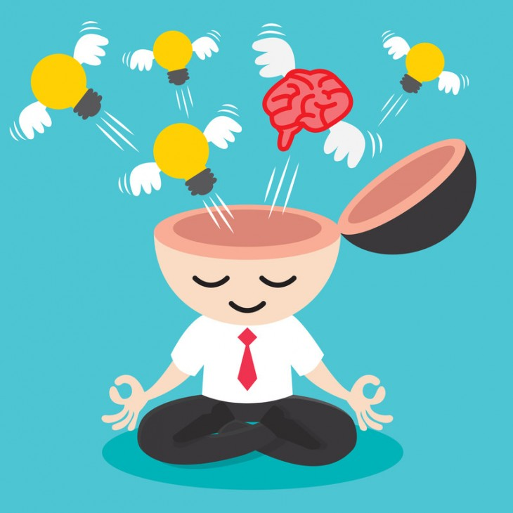 animación de un monito con el cerebro abierto y con focos