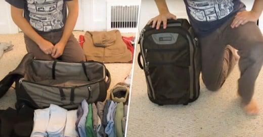 Sorprendente ¿no? y es la maleta para ¡UN MES! Aprende fácil con este chico.