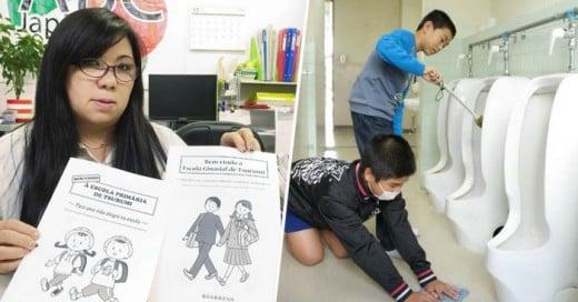 n la mayoría de las escuelas de Japón los estudiantes de primaria y secundaria, además de barrer, trapear y servir un refrigerio como parte de su rutina escolar