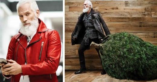 """Paul Mason es un modelo de 51 años que con su gloriosa barba blanca le da vida al """"Fashion Santa"""""""