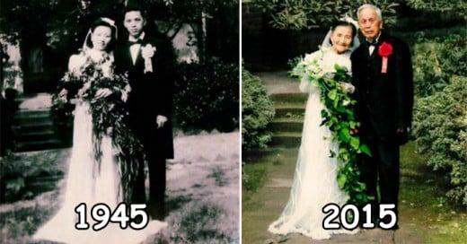 Pareja Japonesa recreando su boda, ellos ahora tiene 98 años de Edad