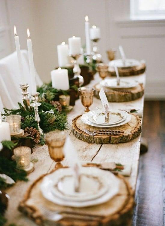decoración de una mesa en navidad