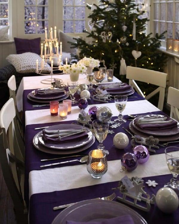 decoración en el centro de mesa en navidad