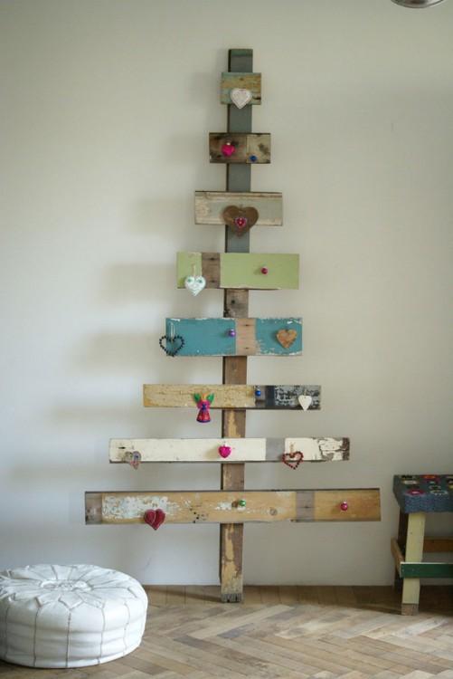 Tablas decoradas en forma de árbol de navidad
