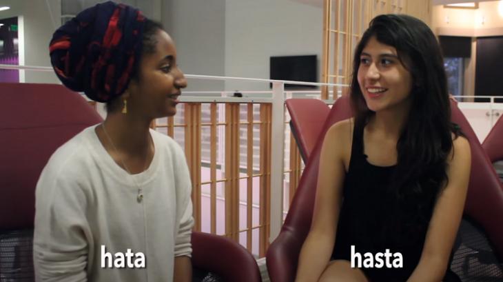 Protagonistas del vídeo de la similitud entre el idioma árabe y el español
