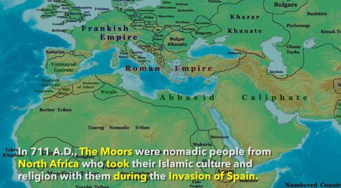 Mapa del imperio romano con una leyenda que cuenta un poco de su historia