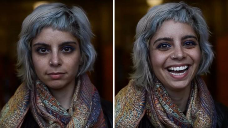 fotografía dividida en dos de la reacción de una chica después de escuchar que es hermosa