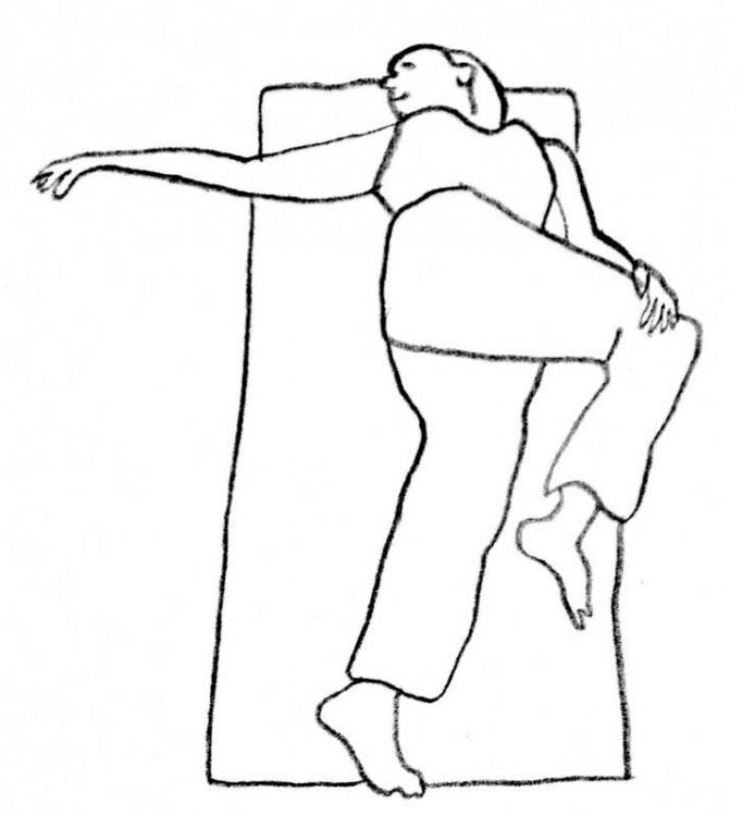 ilustración de un dibujo que muestra como hacer el estiramiento espinal