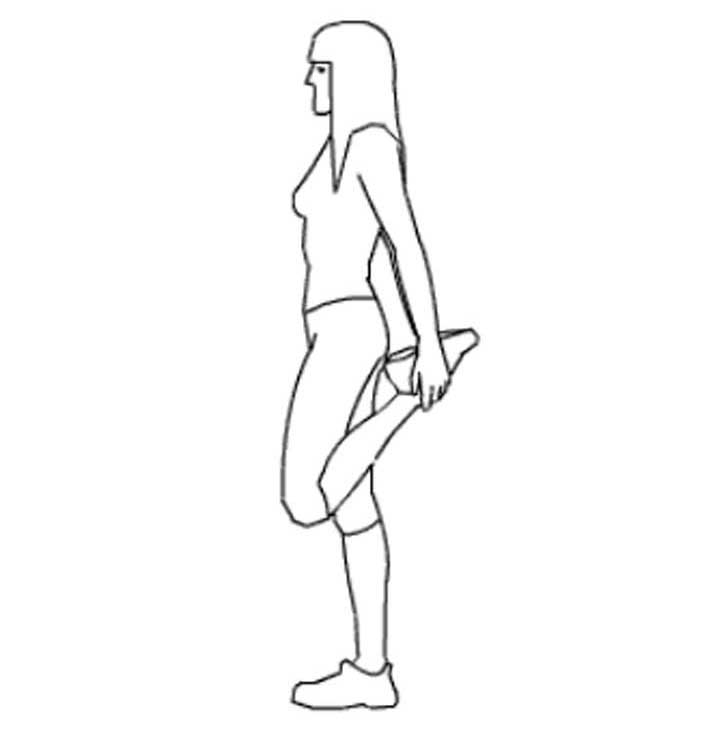 ilustración de una mujer estirando sus pies hacia atrás
