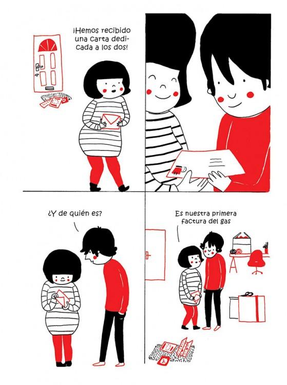 pareja viendo sus cartas por pagar