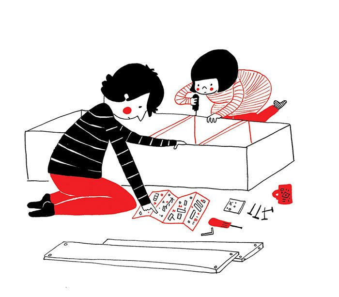 pareja armando muebles ikea