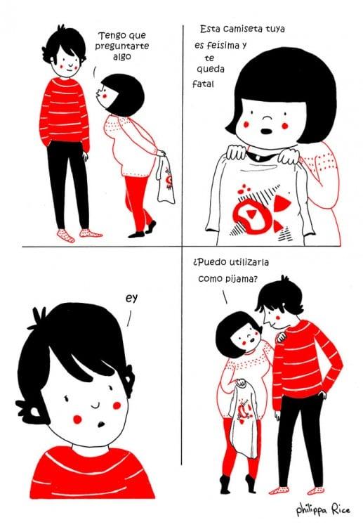pareja haciendo un disputa por la camisa de alguien