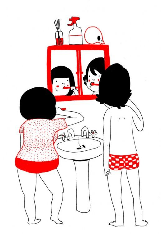 parejalavandose los dientes