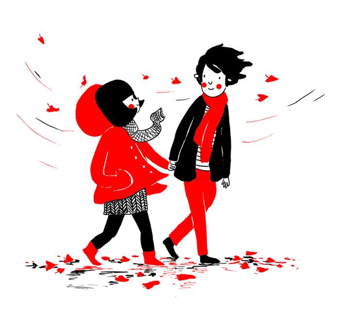 pareja en una tarde de otoño