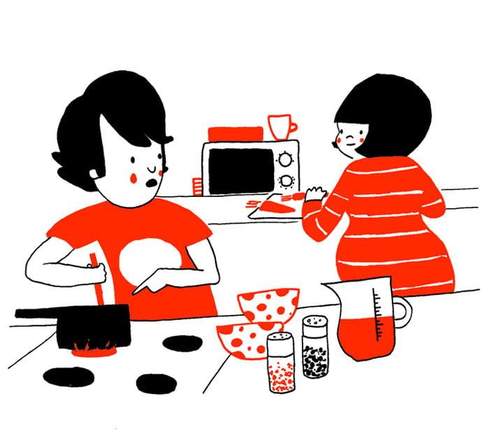 pareja cocinando juntos
