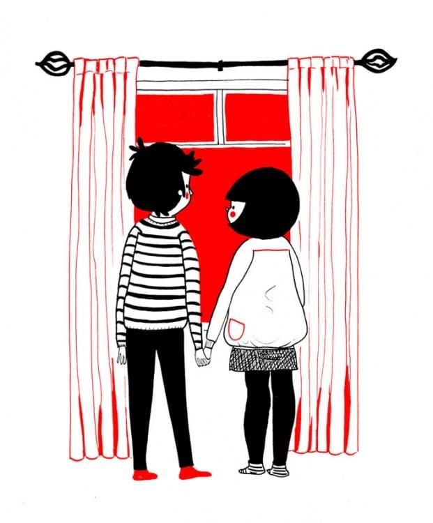 pareja viendo por la ventana