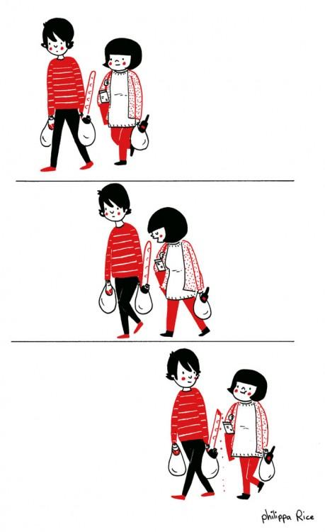 pareja yendo al supermercado