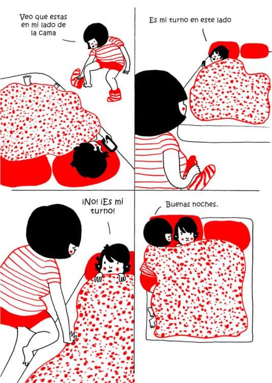 parejas peleando por su lugar en la cama