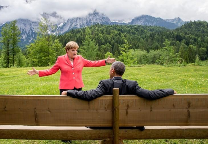 Angela Merkel y Barack Obama Platicando