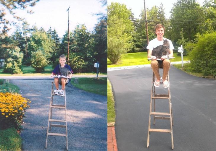 Chico en una foto del antes y después con su gato encima de una escalera