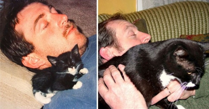 Fotografía del antes y después de un hombre con un gato dormido en su hombro
