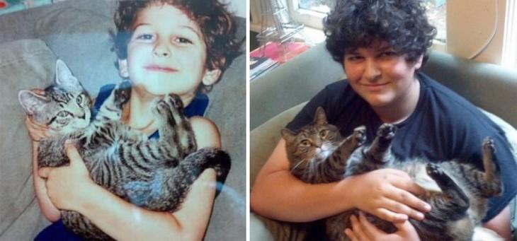 Fotografía del antes y después de un chico con su gato