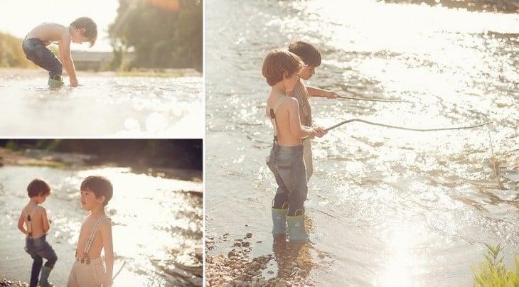 fotografías de dos hermanos pescando