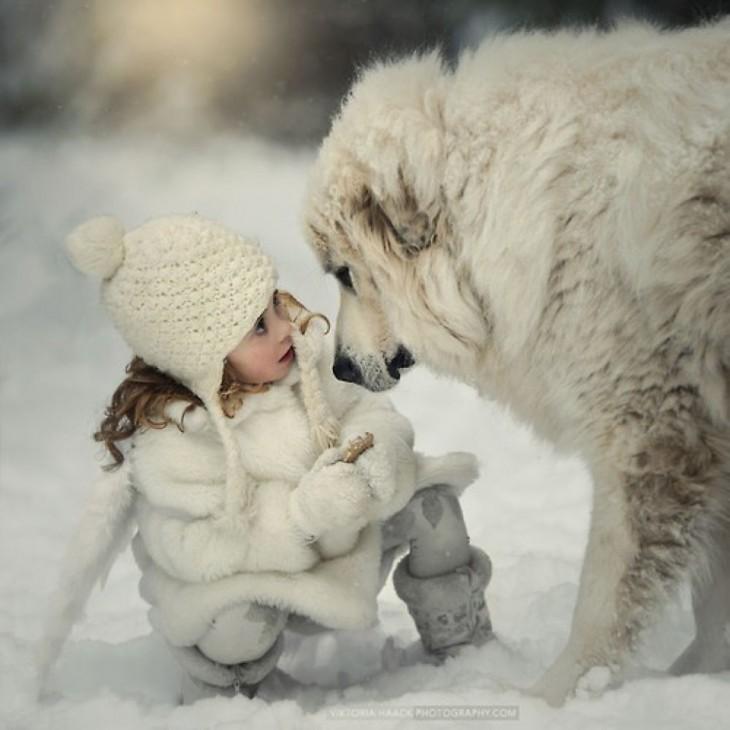 niña en la nieve frente a su enorme perro blanco