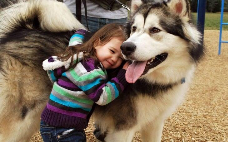 niña abrazando a su enorme perro