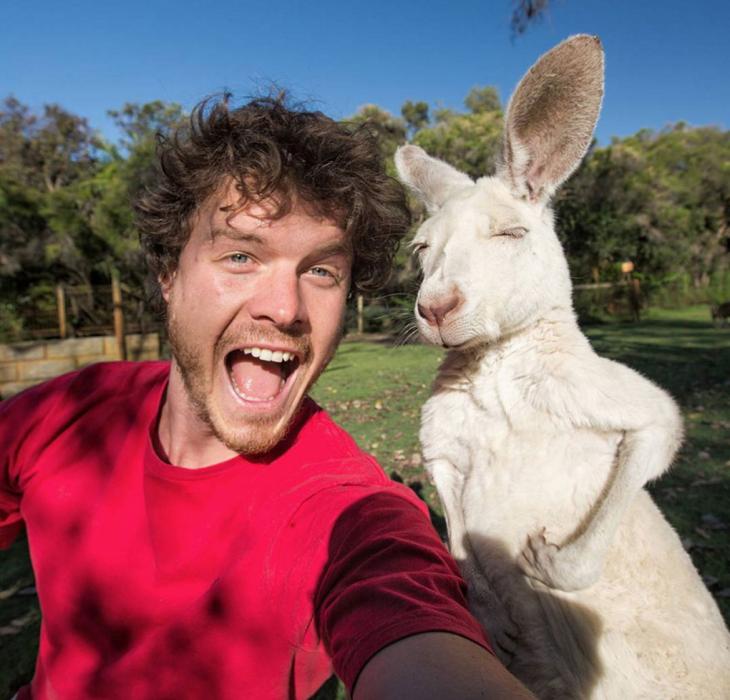 selfie de un chico con un canguro blanco