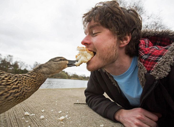selfie de Allan Dixon dando de comer de su boca a un pato