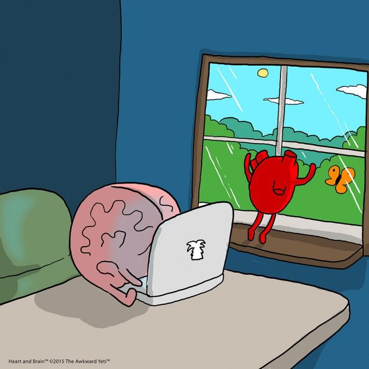 cerebro escribiendo en una computadora y el corazón asomado por una ventana