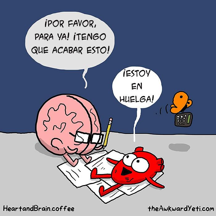 ilustración de un cerebro intentando trabajar sobre unas hojas en donde el corazón está acostado